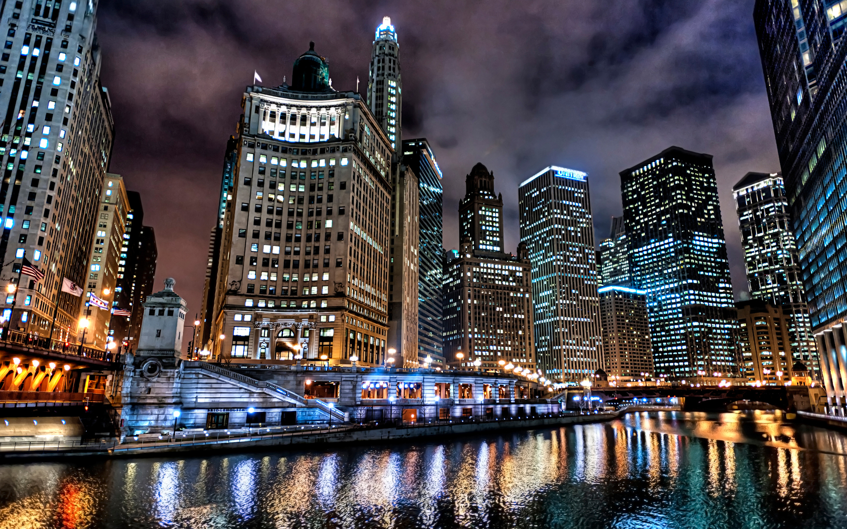 chicago river night wallpaper city trente