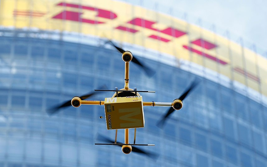 dhl drone parcelcopter deliver goods island medicins medications first time