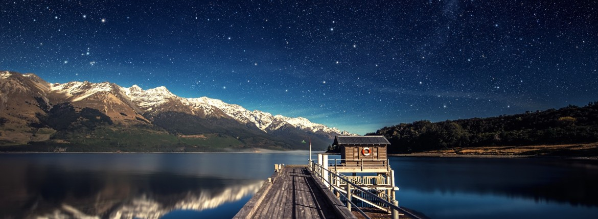 wallpaper lake sky stars night mountain