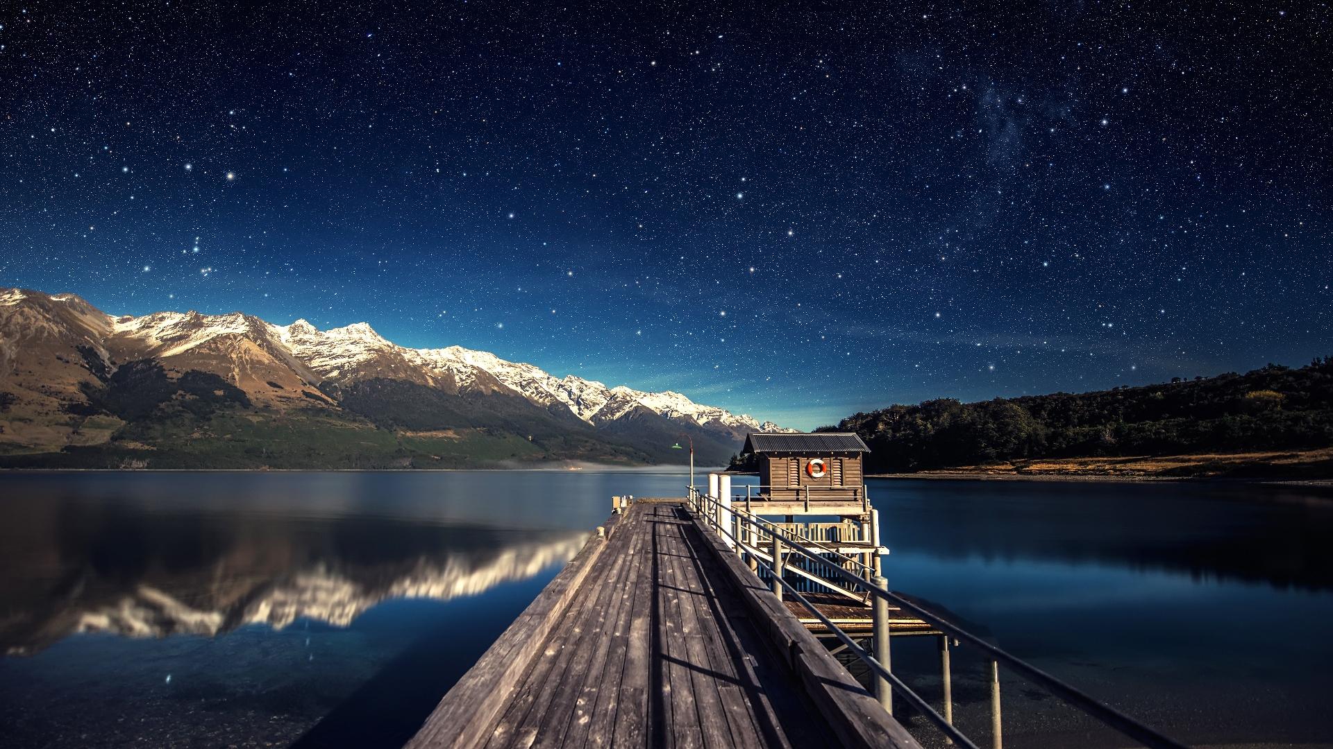Wallpaper Lake Sky Stars Night Mountain Trente