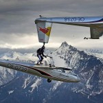 The Red Bull team performs stunts with Blanik Gliders