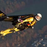 Jetman Yves Rossy flying with his Wing with Turbines on his back